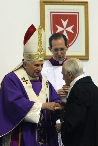 Pope Benedict XVI is welcomed by the FORMER Grand Master of the Order of Malta Fra Andrew Bertie