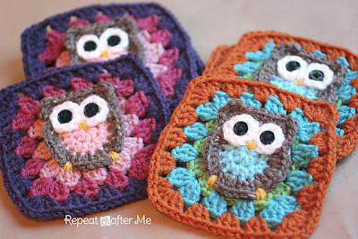 free crochet pattern owl granny square