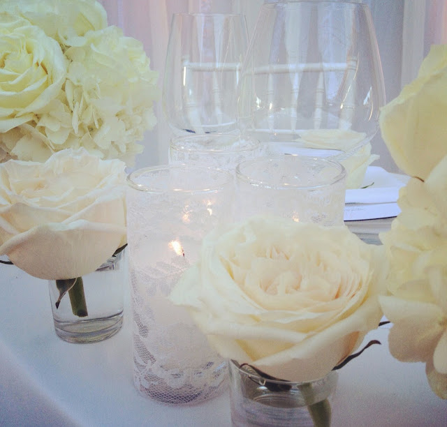white garden rose centerpiece with lace