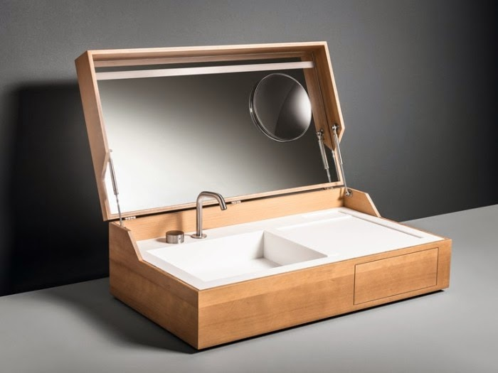 However To The Creative Mind Of Italian Designer Giulio Gianturco It Is Possible And He Has Designed Hidden Washbasin Disguised As A Wooden Box