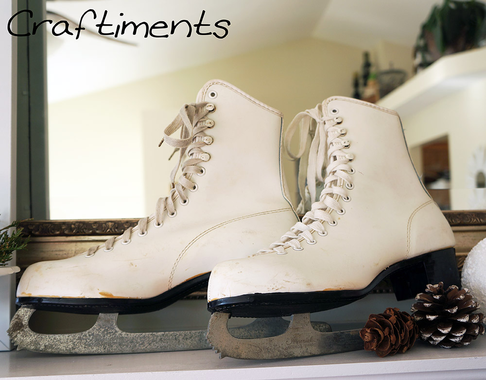 Craftiments:  Ice skates on mantel