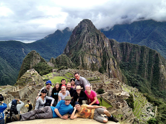 Team picture at Machu Picchu at the end of the Inca Trail
