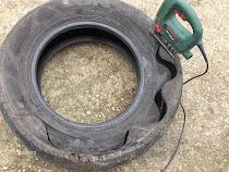 paso a paso de maceta hecha con neumático