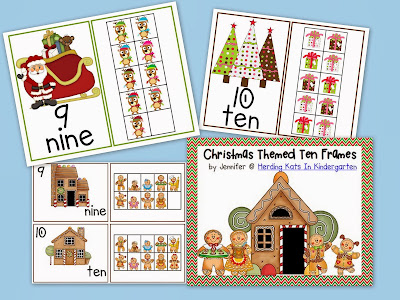 http://www.teacherspayteachers.com/Product/Christmas-Ten-Frames-Unit-Gingerbread-Santa-Reindeer-Trees-Presents-409151