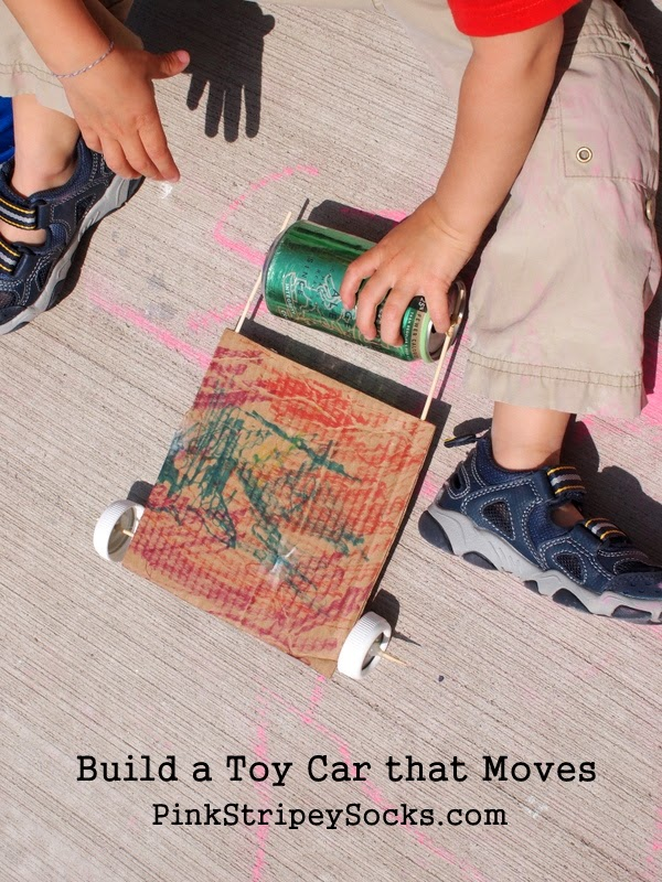 kid science build a toy car that moves with household materials