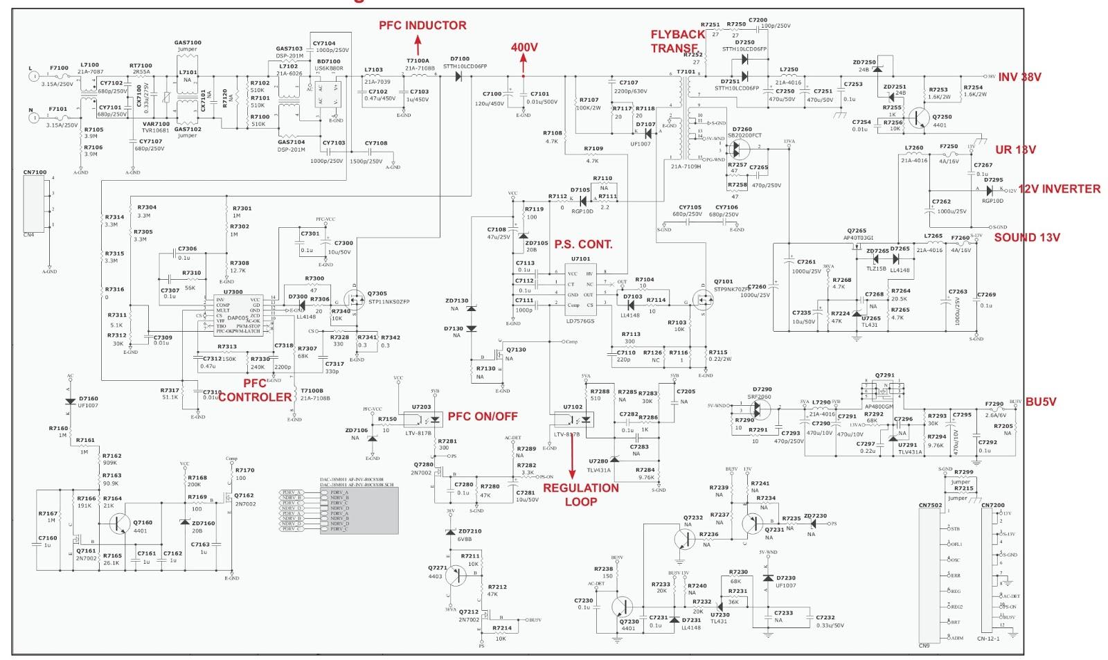 Схема блоков питания sharp lc