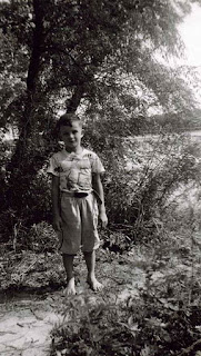 Me at Linoma Beach in 1952. It is called Linoma because it is half way between Lincoln and Omaha on the Platte River