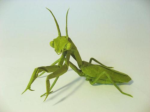 mantis religiosa origami papel