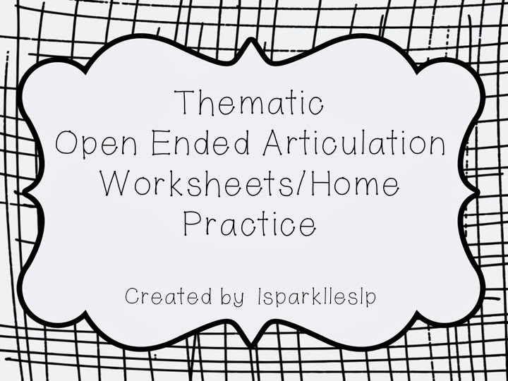 March 2014 Sparklle SLP – Articulation Worksheets