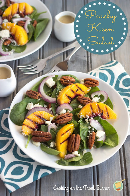 Spinach Salad with Grilled Peaches | Cooking on the Front Burner #recipes #peaches