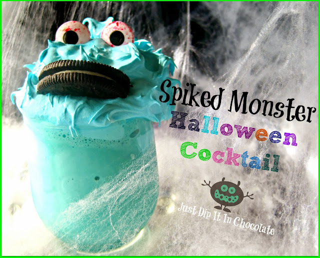Spiked Monster Halloween Cocktail Recipe, Isn't this adorable? It sure is, but don't be fooled by it's looks. Our monster friend here is spiked making it the perfect cocktail for mom or dad on Halloween night.