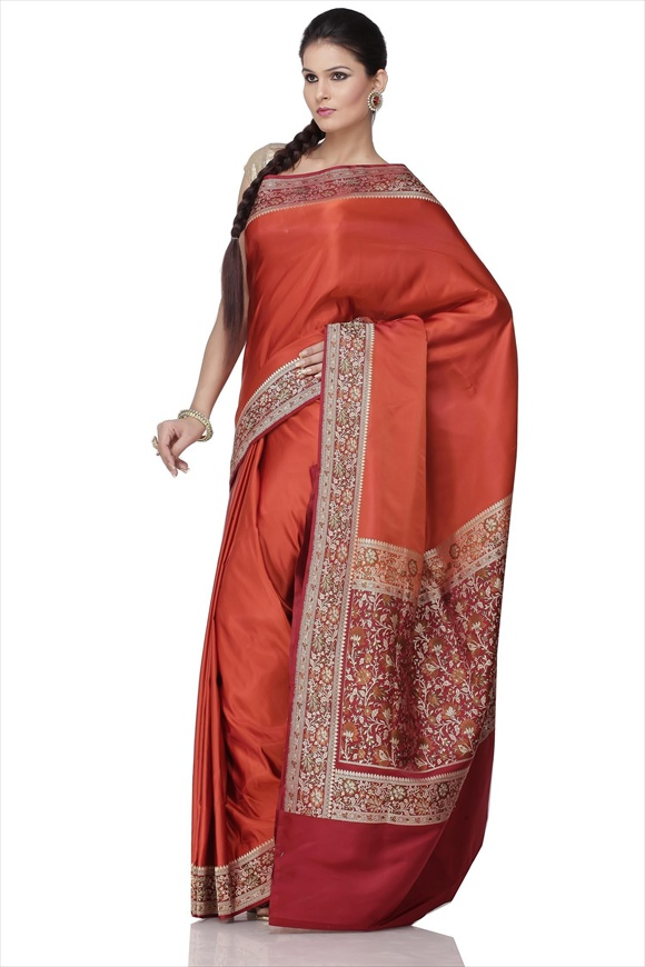 Burnt Sienna Art Kattan Silk Banarasi Saree