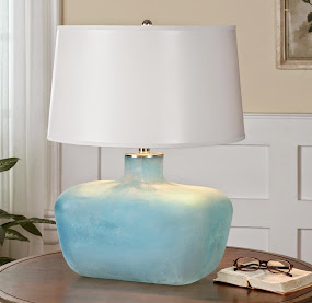New! Frosted Sea Glass Blue Table Lamp