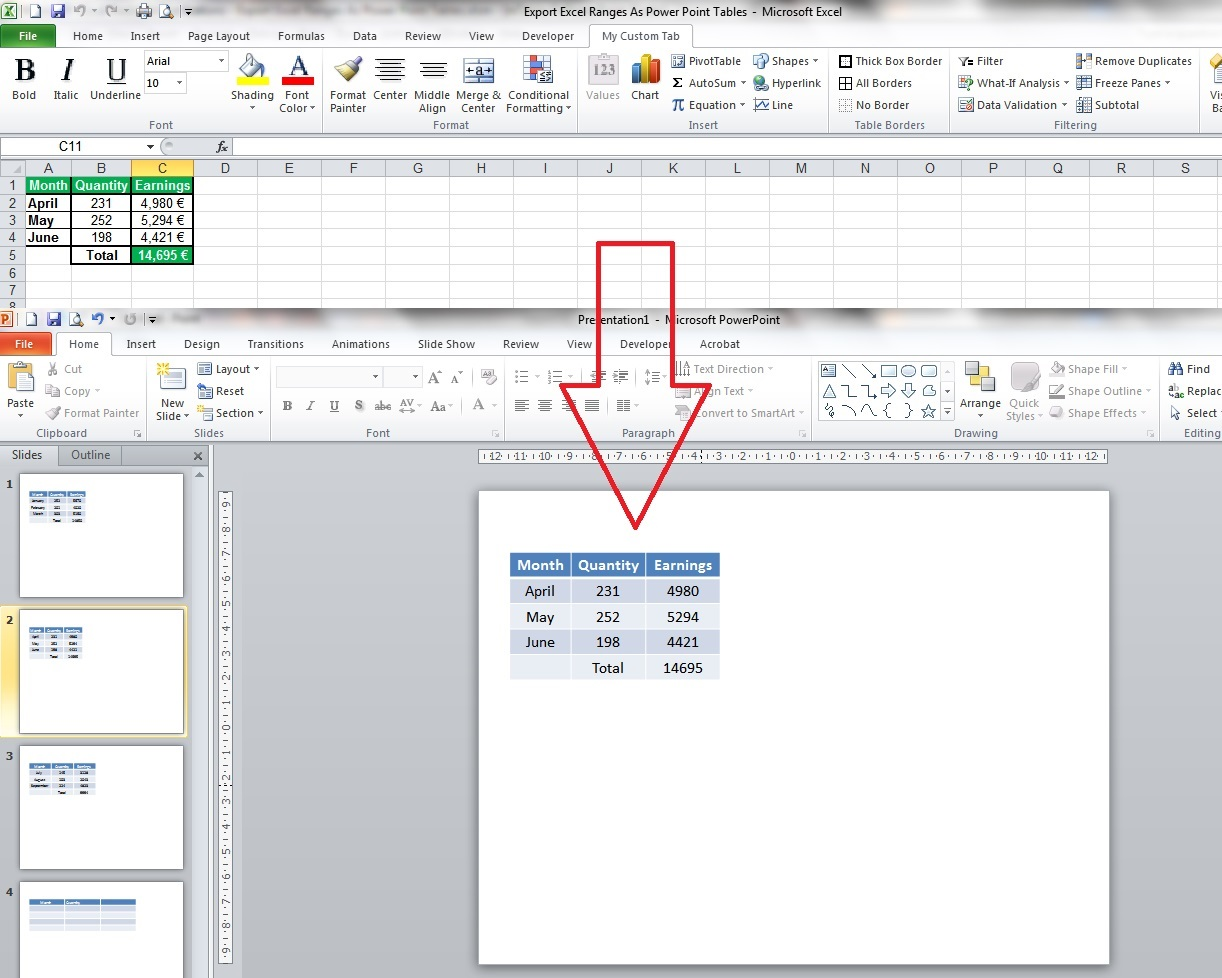 Export Excel Ranges As Power Point Tables
