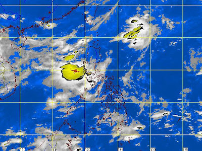 Satellite image showing tropical cyclones