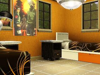 Dekorasi Gambar Naruto di kamar tidur anak