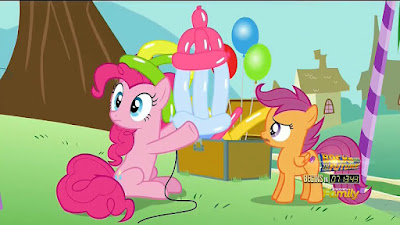 Pinkie presents Scootaloo with... a balloon baby's bottle