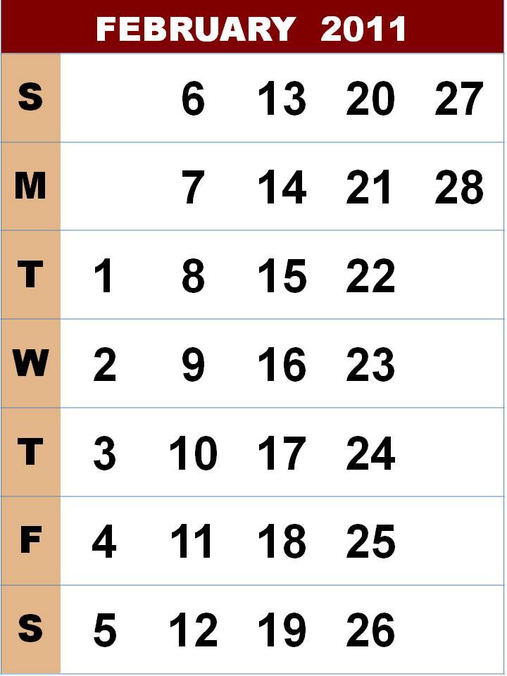 2011 calendar printable february. february calendar 2011