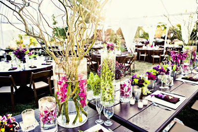 """Décoration de table de mariage """"fleurie"""""""