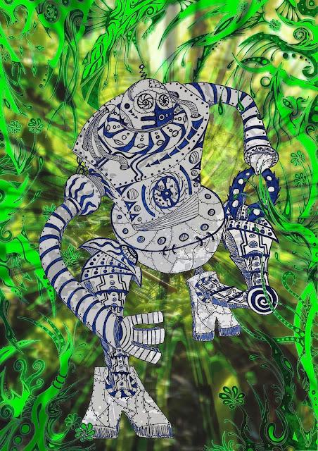 Dessins Fantastiques Robot+qui+court+dans+la+jungle