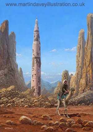 Old Saturn V rocket in desert digital painting