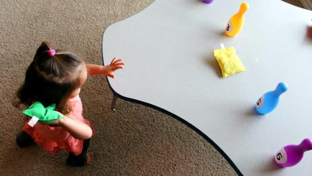 preschool math activity, bean bag toss