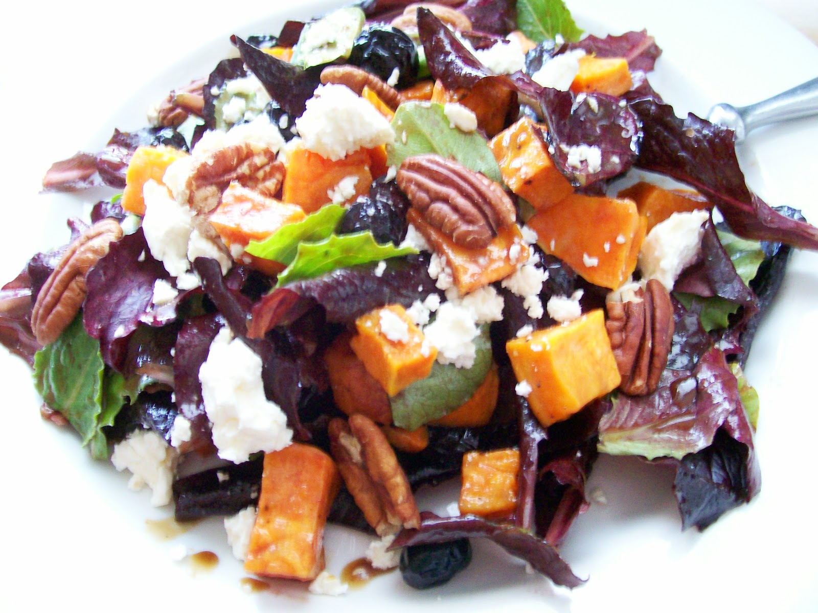 Beer. Butter. Bacon.: Roasted Sweet Potato, Feta, Blueberry and Pecan ...