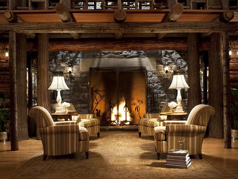 Estilo rustico cabana kootenai lodge - Pared rustica interior ...