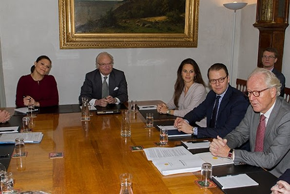 King Carl Gustaf of Sweden ,Crown Princess Victoria of Sweden, Prince Daniel of Sweden and Princess Sofia of Sweden attended a meeting about the 2015 Nobel Prize ceremony