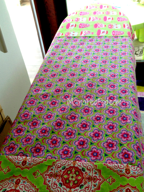 Lay out your table runner fabrics as you want them to look when finished