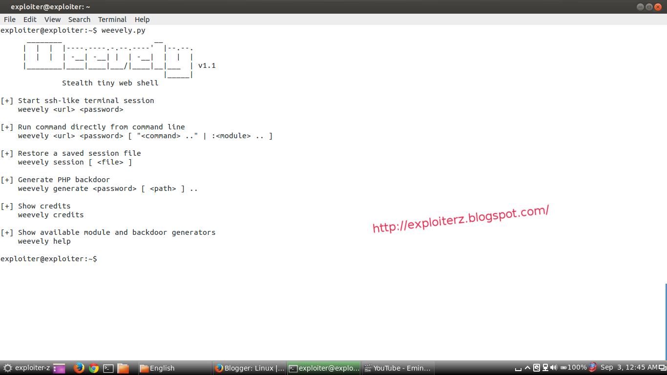 backdoor a server using weevely backdoor