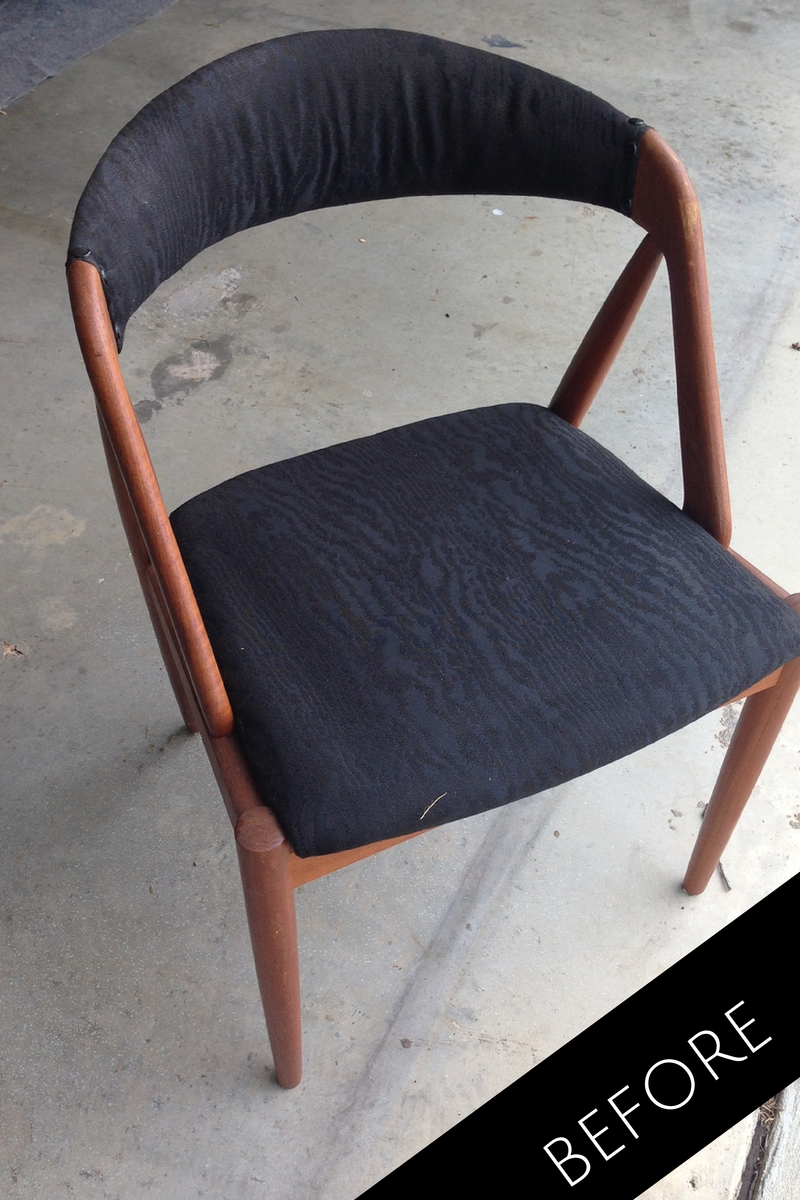 mid century chair before & after