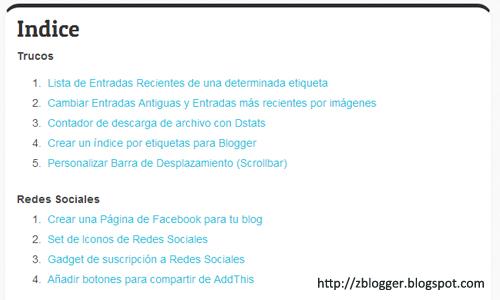 Crear índice en Blogger con etiquetas específicas