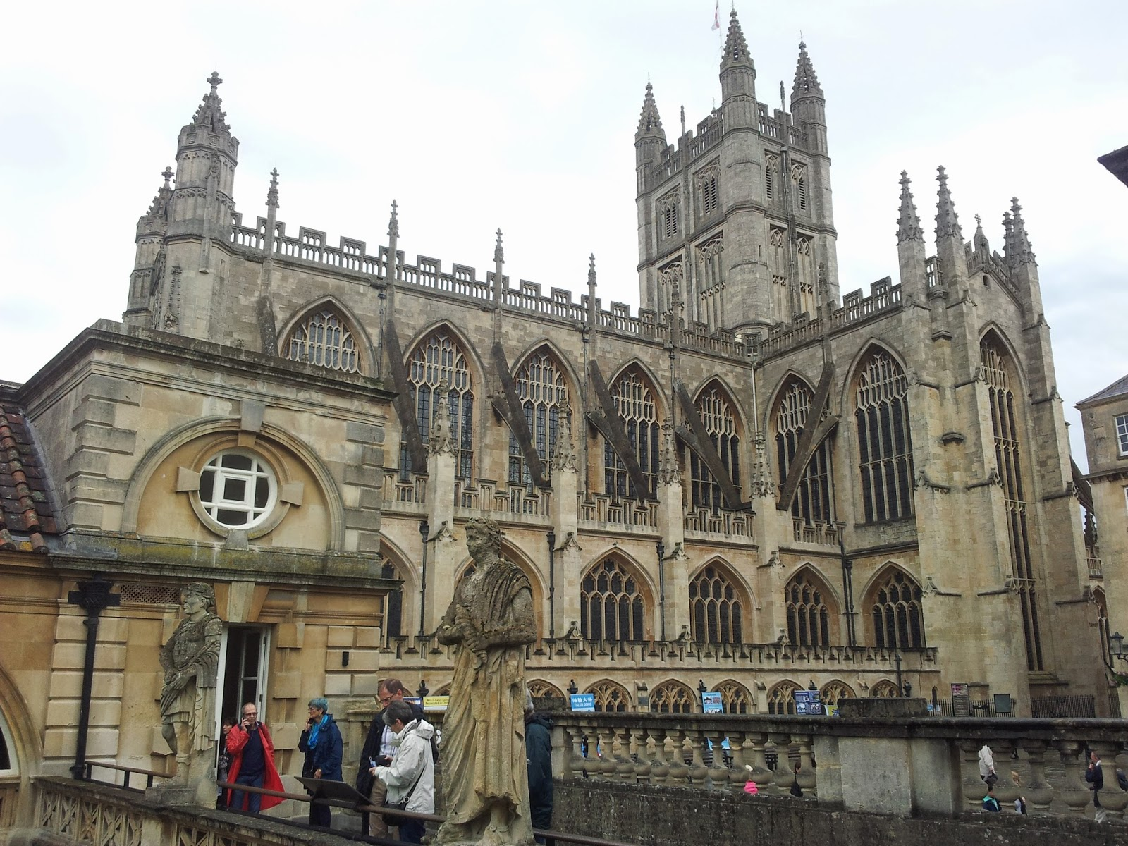 Roman baths overlooked by Bath Abbey