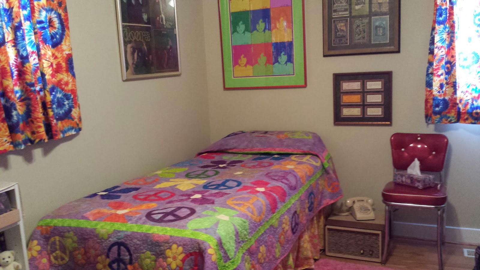 Peace Sign Bedroom Karen Dewitt Author Our 60s Room Inspired By The Beatles50