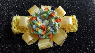 Faixas de Cabelo para Bebê com Flor em Crochê
