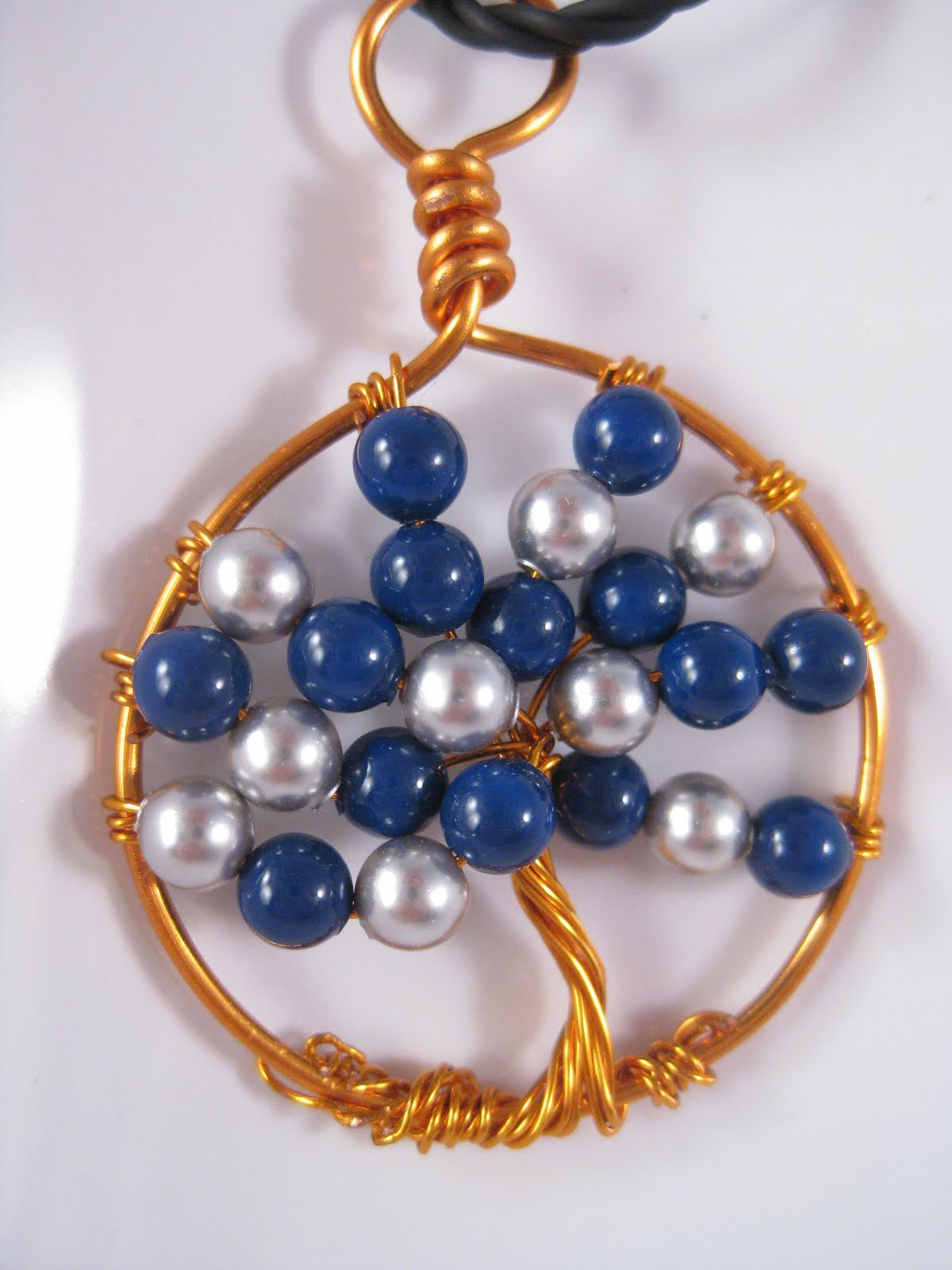 Blue/Grey Pearl Copper Wire Tree of Life Pendant
