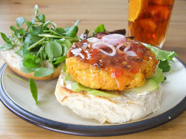 Vegan Carrot and Sesame Burgers and Pimms