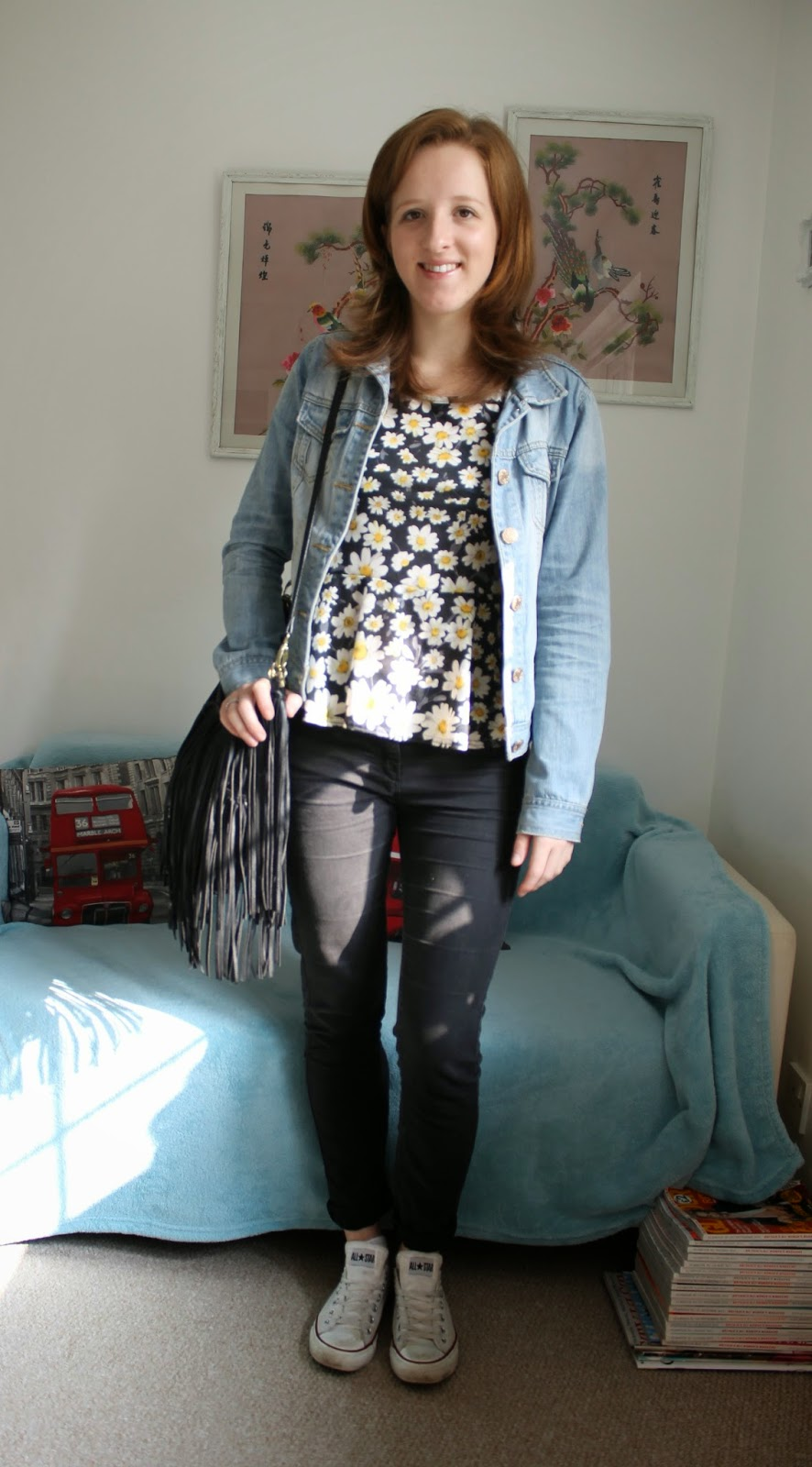 Daisy Peplum and Black Skinny Jeans OOTD