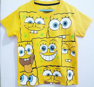 Baju Anak Karakter Spongebob Size 1 - 6 Tahun