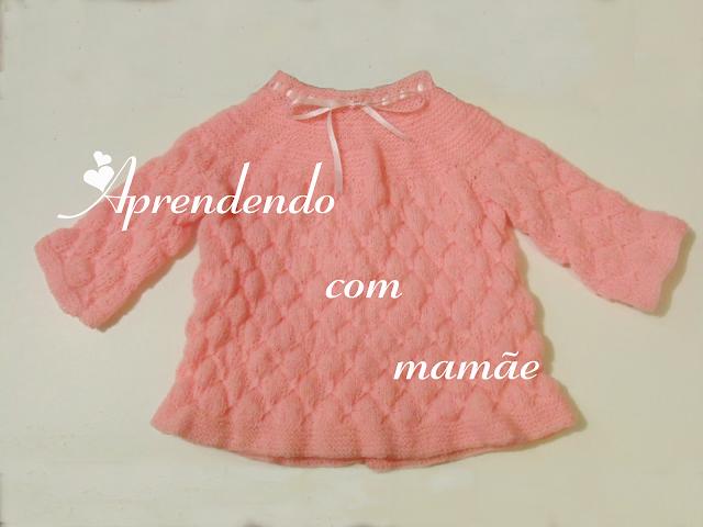 tricô, casaquinho de tricô, sapatinho de tricô, trabalho, lã Cinderella, agulhas esmaltadas para tricô, fita, botões de madrepérola, projeto, blog, aprendendo com mamãe, recém nascido, roupinhas para bebê