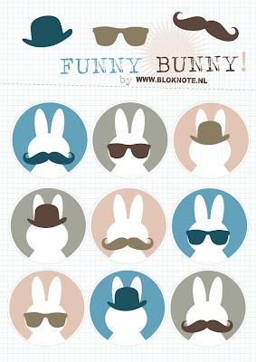 Funny Bunny Printable Nijntje Miffy Dick Bruna gratis Bloknote Snot bolhoedje zonnebril grappig kinderfeestje kinderknutselen