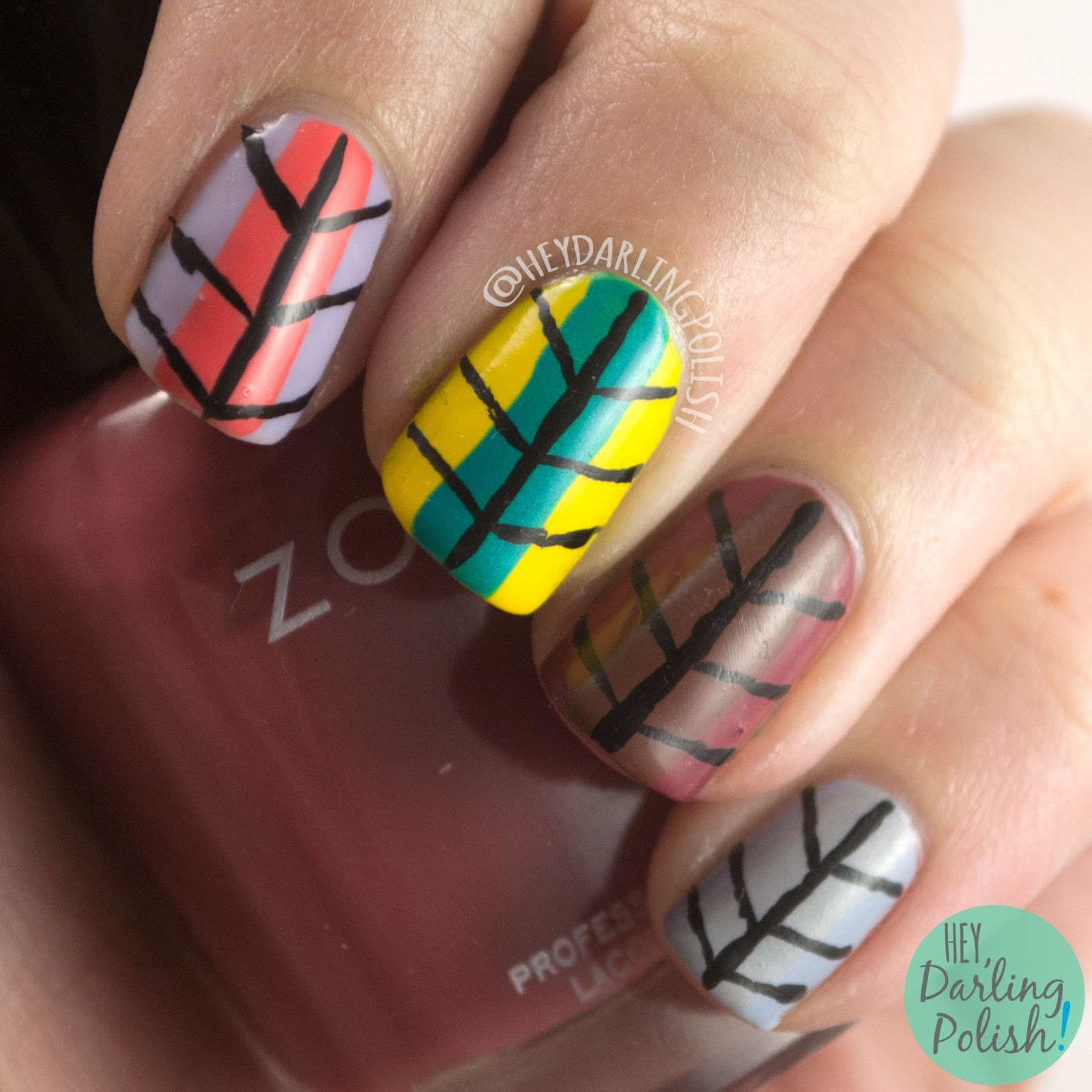 nails, nail art, nail polish, seasons, the nail art guild, stripes, hey darling polish
