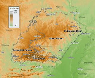 Ozark Mountain Daredevils naam herkomst - Ozarks kaart