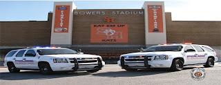 Two University Police Department vehicles parked outside the stadium./><br /> </p><p><strong>Wed, Sep 24 2015</strong><br /> 7:00pm - 9:00pm<br /> Bearkat Plaza<br /> </p><p>Join the University Police Department for its