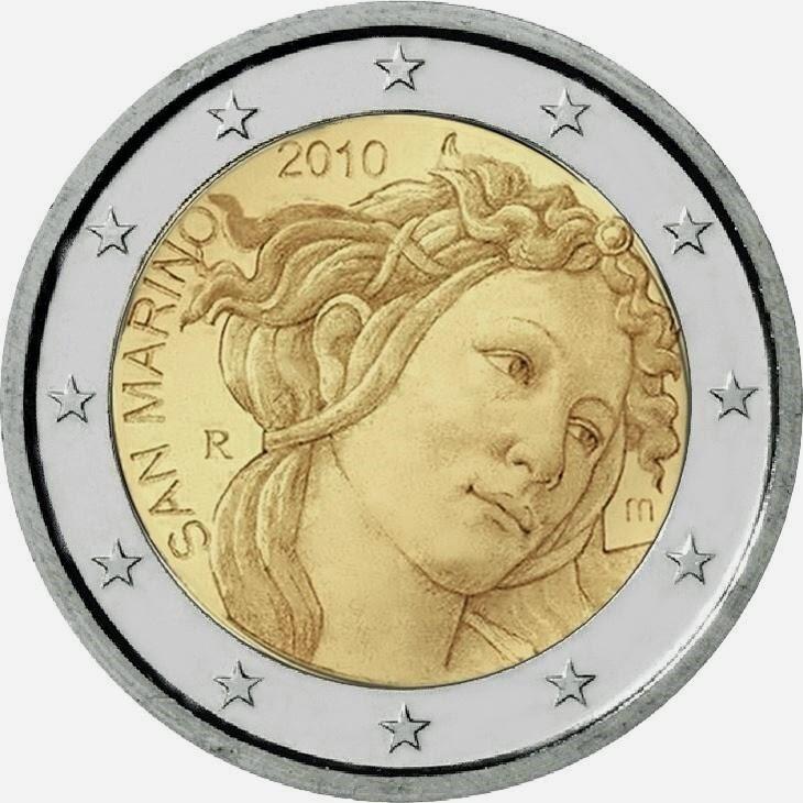 2 Euro Commemorative Coins San Marino 2010 Sandro Botticelli