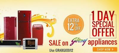 Flat 12% Extra Off on Godrej Home & Kitchen Appliances at HomeShop18
