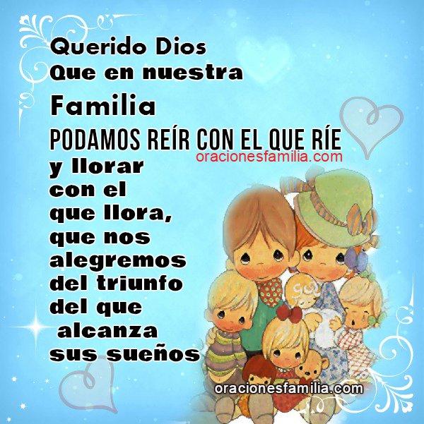 Oración corta de la familia por la unión, unidad, armonía, amor, comprensión entre hijos, padres, hermanos, abuelos.
