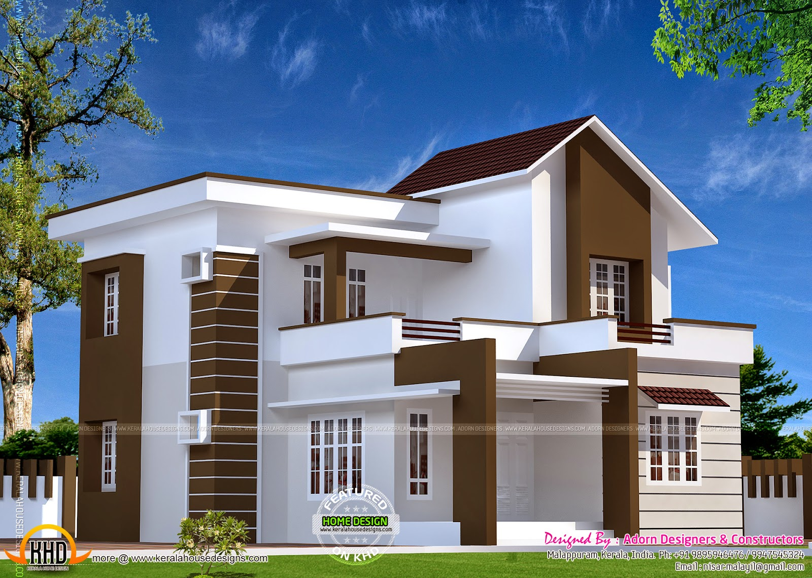 Small House Elevation Kerala Style : Double storied home in kerala design and