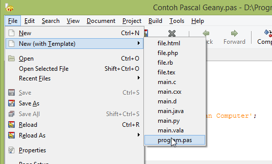 geany templates - cara menggunakan geany untuk pemrograman pascal ryan